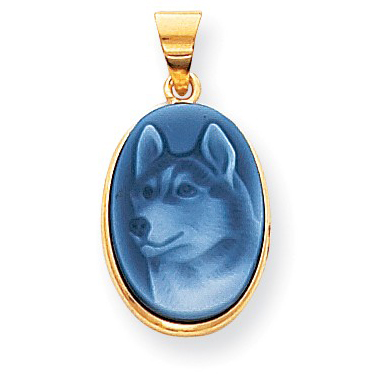14kt Gold Dog Blue Agate Cameo Pendant