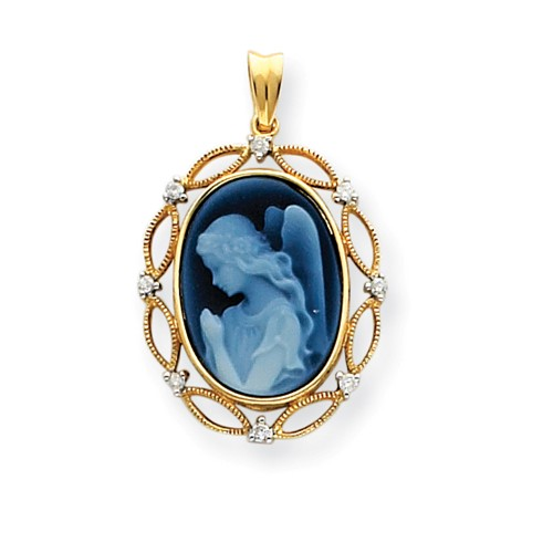 14kt Wings of Love Diamonds Cameo