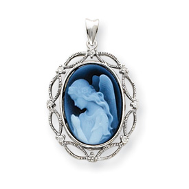 14kt White Gold Wings of Love Diamonds Cameo