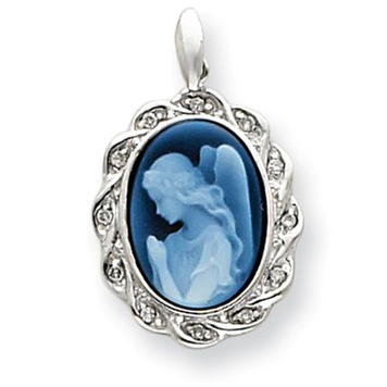 14kt White Gold Guardian Angel Cameo with Diamond Accents