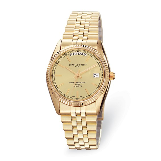Mens Charles Hubert 14k Gold-plated Champagne Dial Watch No. 3400-OY