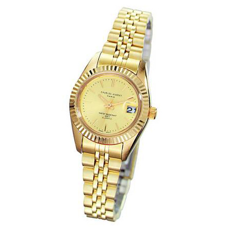 Ladies Charles Hubert 14k Gold-plated Champagne Dial Watch No. 6444