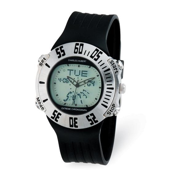 Mens Charles Hubert Rubber Band Silver Digital Dial Chronograph Watch No. 3563-W