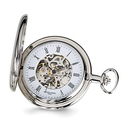 Charles Hubert Mechanical Pocket Watch Skeleton Dial Roman Numerals