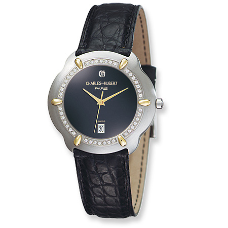 Charles Hubert Diamond 18k Accent Leather Band Dial Watch No. 18302D-J