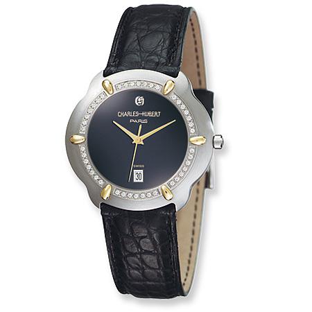 Mens Charles Hubert Diamond 18k Accent Crocodile Band Black Dial Watch No. 18302D-J