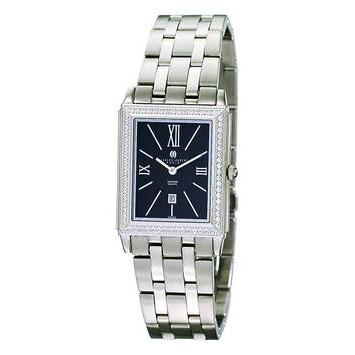 Unisex Charles Hubert Stainless Diamond Bezel Black Dial Watch No. 18313-B