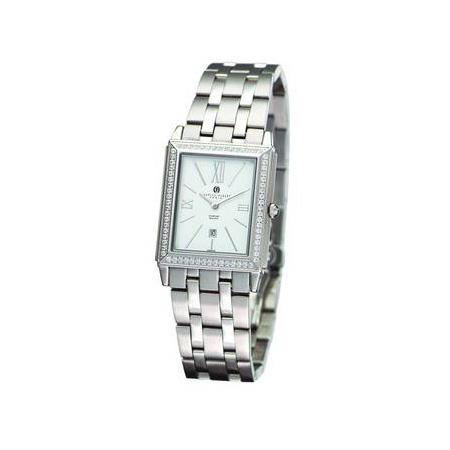 Unisex Charles Hubert Stainless Diamond Bezel White Dial Watch No. 18313-W