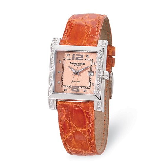 Charles Hubert Diamond Bezel Leather Peach Dial Watch No. 18310-P/CC