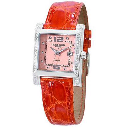 Ladies Charles Hubert Diamond Bezel Leather Band Peach Dial Watch No. 18310-P/CC