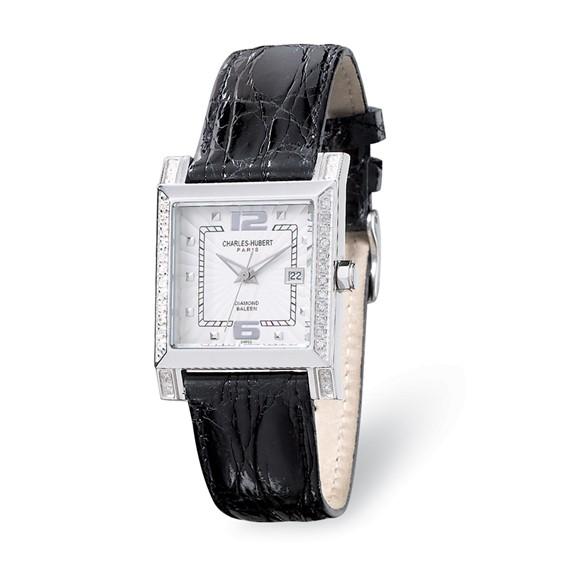 Charles Hubert Diamond Bezel Black Leather Watch No. 18310-W/BC