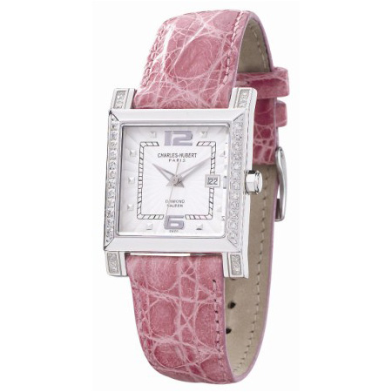 Charles Hubert Diamond Bezel Pink Leather Watch No. 18310-W/HC