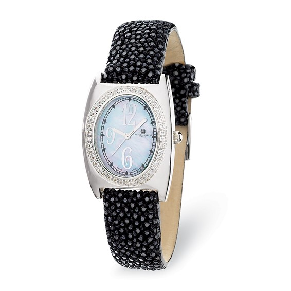 Ladies Charles Hubert Black Stingray Band Mother of Pearl Dial Watch No. 18311-E/B