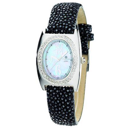 Charles Hubert Black Stingray Leather Mother of Pearl Dial Watch