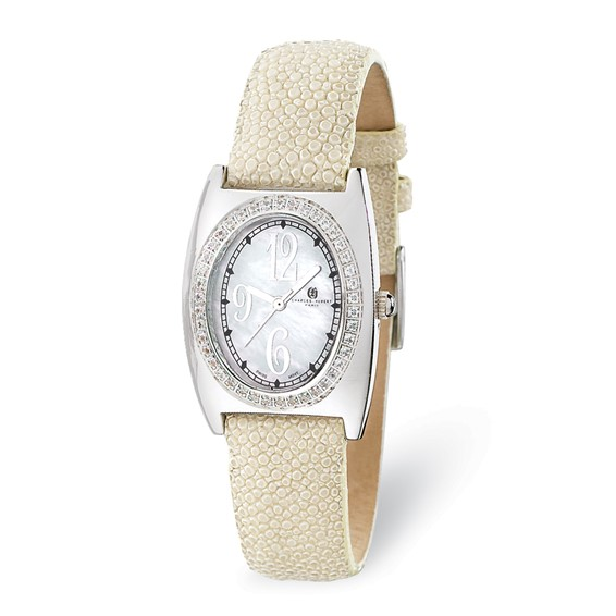 Ladies Charles Hubert White Stingray Band Mother of Pearl Dial Watch No. 18311-W/F