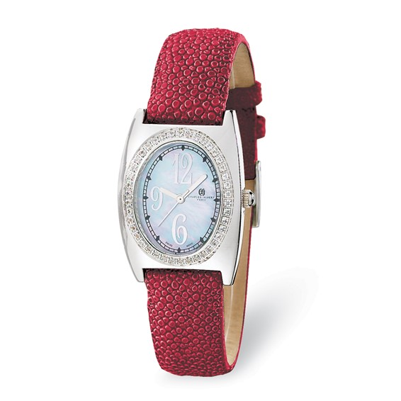 Ladies Charles Hubert Red Stingray Band Mother of Pearl Dial Watch