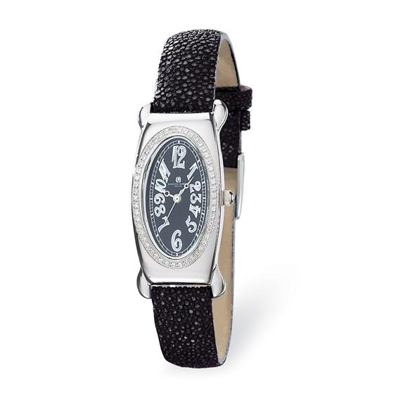 Charles Hubert Black Stingray Band Black Oval Dial Watch 18312-B/B