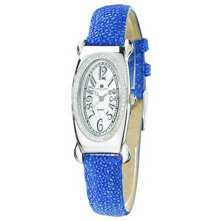 Ladies Charles Hubert Blue Stingray Band White Oval Dial Watch No. 18312-W/E
