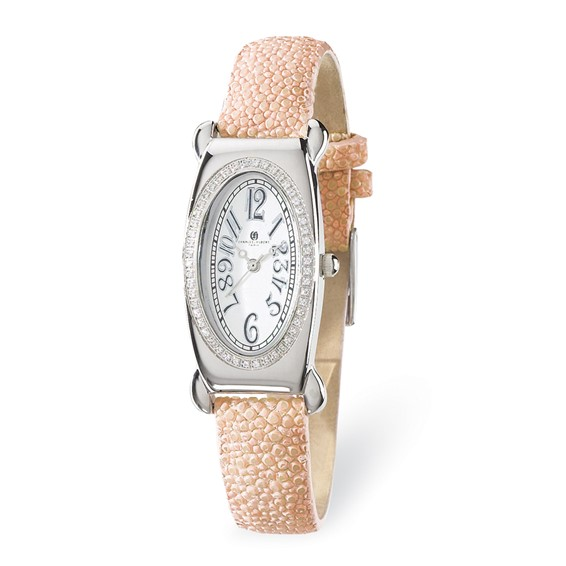 Charles Hubert Pink Stingray Band White Oval Dial Watch 18312-W/L
