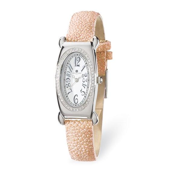 Ladies Charles Hubert Pink Stingray Band White Oval Dial Watch No. 18312-W/L