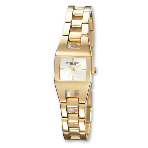 Ladies Charles Hubert 14k Gold-plated Stainless Steel White Dial Watch 6736-G