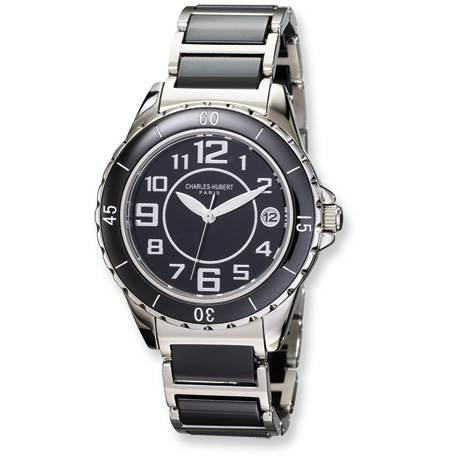 Mens Charles Hubert Stainless Steel and Ceramic Black Dial Watch No. 3755-B
