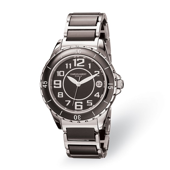 Charles Hubert Stainless Steel and Ceramic Black Dial Watch 6755-B