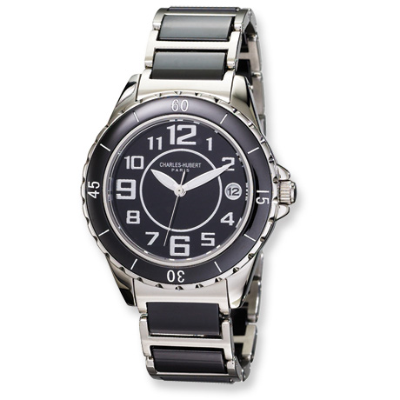 Ladies Charles Hubert Stainless Steel and Ceramic Black Dial Watch No. 6755-B