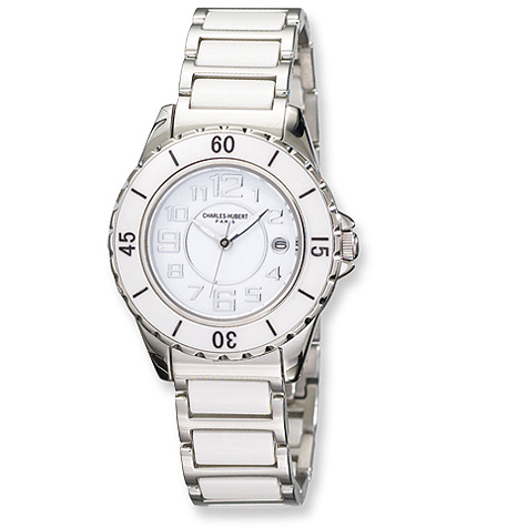 Mens Charles Hubert Stainless Steel and Ceramic White Dial Watch No. 3755-W