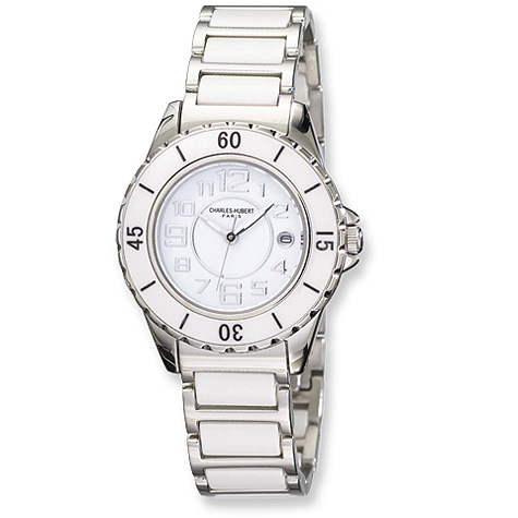 Ladies Charles Hubert Stainless Steel and Ceramic White Dial Watch No. 6755-W