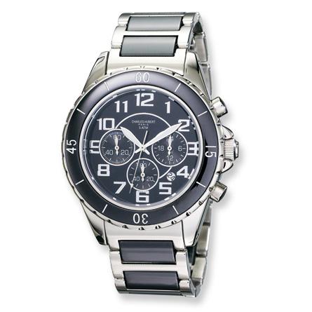 Charles Hubert Stainless Steel Black Dial Choronograph Watch 3754-B