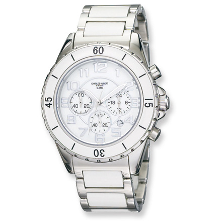 Mens Charles Hubert Stainless Steel White Dial Choronograph Watch No. 3754-W