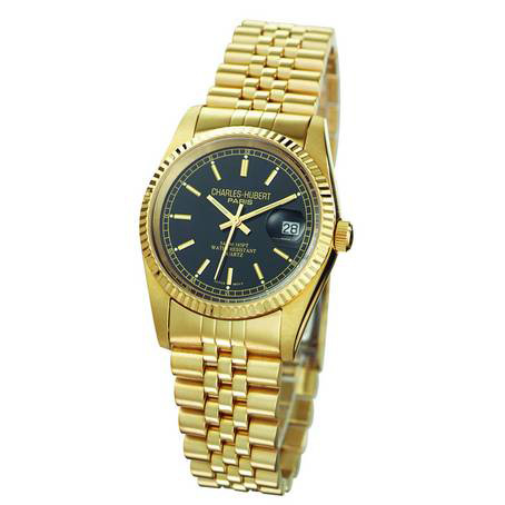 Mens Charles Hubert 14k Gold-plating Black Dial Watch No. 3635-GB
