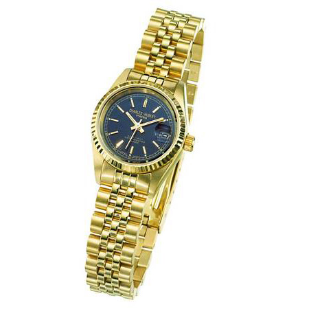Ladies Charles Hubert 14k Gold-plated Stainless Steel Black Dial Watch o. 6635-GB