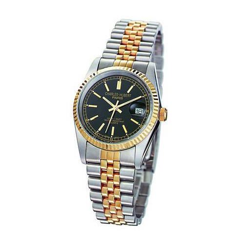 Mens Charles Hubert 14k Gold-plated Two-tone Black Dial Watch No. 3635-B