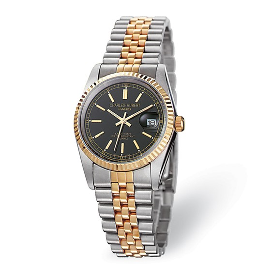 Ladies Charles Hubert 14K Gold-plated Two-tone Black Dial Watch No. 6635-B