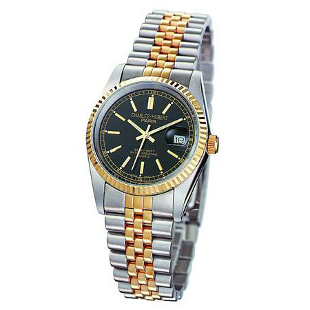 Charles Hubert Gold-plated Two-tone Black Dial Watch 6635-B