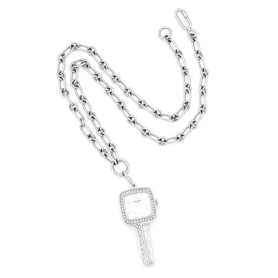 Ladies Charles Hubert Stainless Steel White Dial Pendant Watch