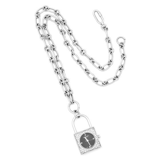 Ladies Charles Hubert Stainless Steel Black Dial Pendant Watch