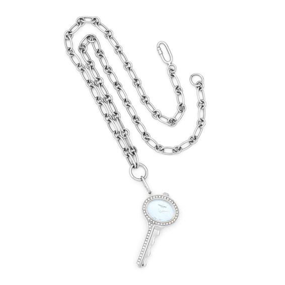 Ladies Charles Hubert Stainless Steel Blue Dial Pendant Watch