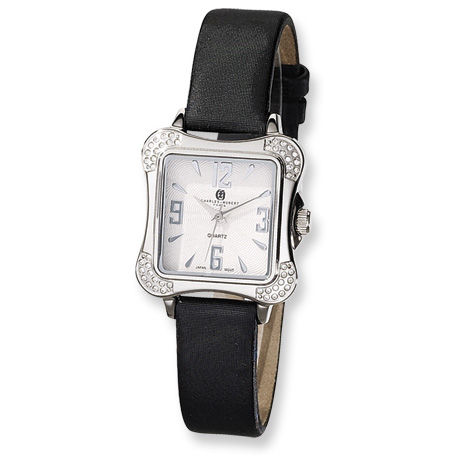 Ladies Charles Hubert Leather Band Silver White Dial Watch