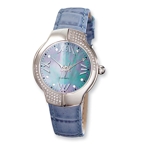 Ladies Charles Hubert Leather Band Blue Mother of Pearl Watch No. 6734