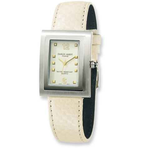 Mens Charles Hubert Leather Band Beige Dial Watch