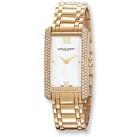 Ladies Charles Hubert 14k Gold-plated Off White Dial Watch No. 6668-W/M