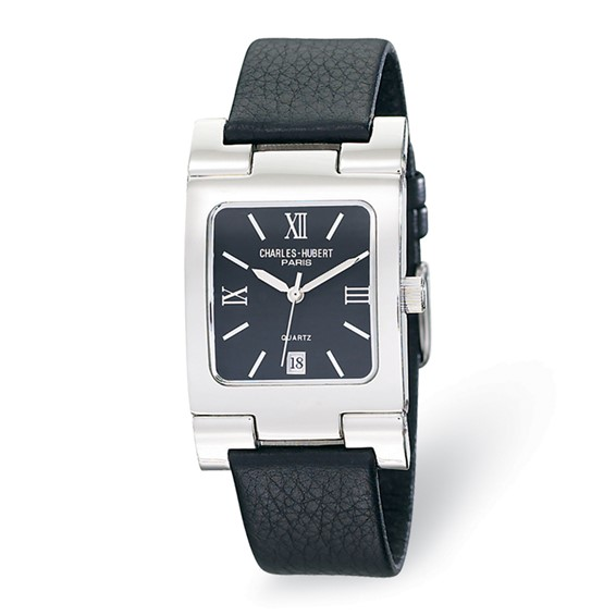Mens Charles Hubert Leather Band Stainless Steel Black Dial Watch