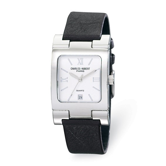 Mens Charles Hubert Leather Band Stainless Steel Off White Dial Watch