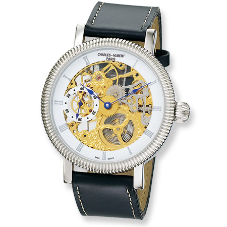 Mens Charles Hubert Skeleton Leather White Dial Watch No. 3737