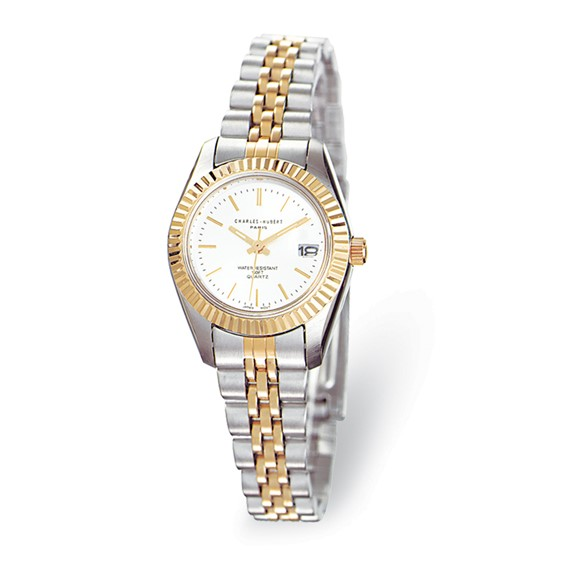 Charles Hubert Two-tone Stainless Band Silver Dial Watch 6445
