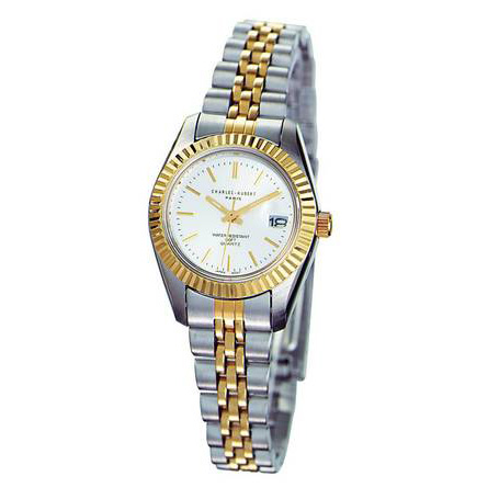 Ladies Charles Hubert Two-tone Stainless Band Silver Dial Watch No. 6445