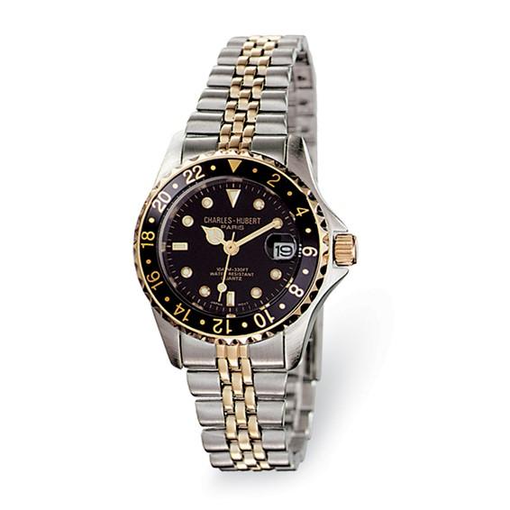 Ladies Charles Hubert Two-tone Stainless Steel Black Dial Watch No. 6663